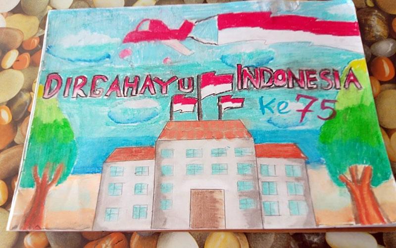 Hasil Karya Poster Kemerdekaan Siswa Batang Hari dalam Rangka kemerdekaan HUT RI ke 75.(FOTO : JambinetID/Tanoto)