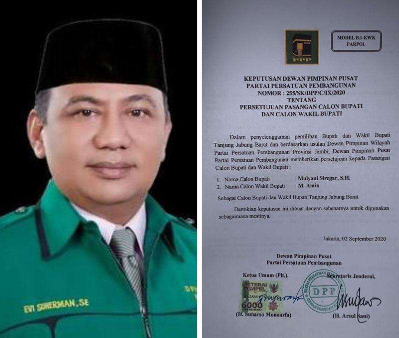 Ketua DPD PPP Provinsi Jambi, Evi Suherman. [FOTO : JambiNET/MC]