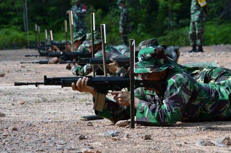 Latihan Menempak Prajurit Korem 042/Gapu Senjata Ringan (Latakjatri) TW IV tahun 2020. [FOTO : JambiNET/REM042]