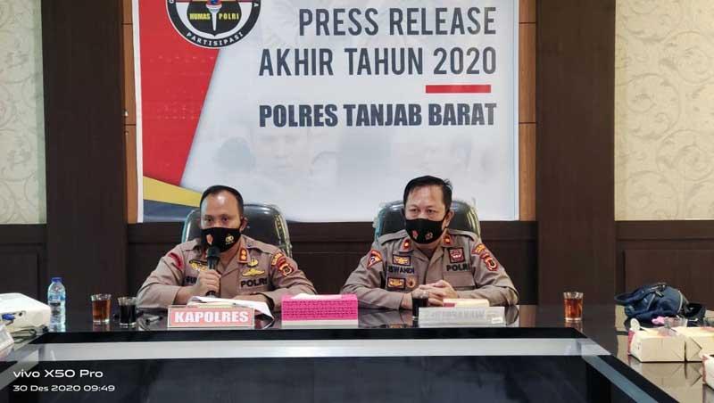 Kapolres Tanjab Barat AKBP Guntur Saputo, SIK, MH saat Pres Rilis Akhir Tahun 2020. [FOTO : JambiNET]