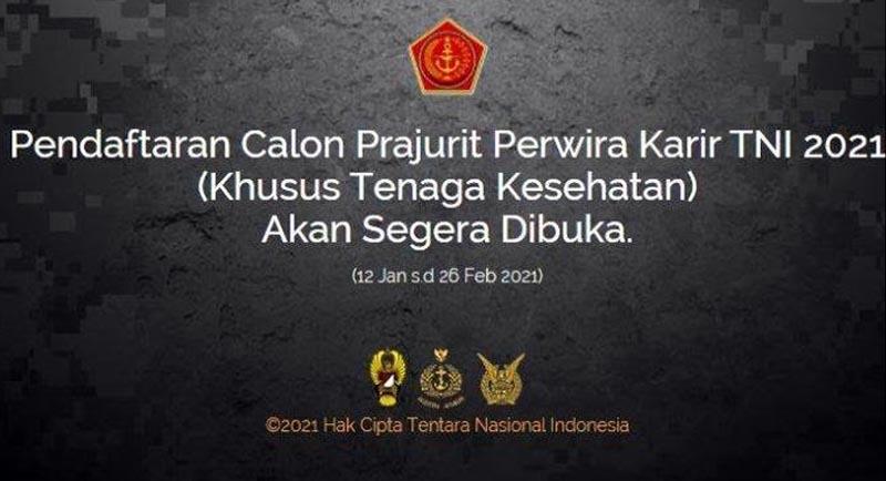 TNI Buka Penerimaan Calon Perwira Prajurit Karier TA 2021. [FOTO : JambiNET/Ist]